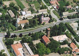 Magyarcsanád - The main street of Magyarcsanád on an aerial photo