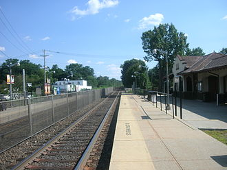 Mahwah, New Jersey - The 1913 Mahwah NJ Transit Station building is visible on the right.