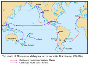 Malaspina Expedition - Map showing the route of Malaspina's ship Descubierta with the return to Spain from Tonga omitted. The route of Bustamante's Atrevida was mostly the same, but deviated in some places.