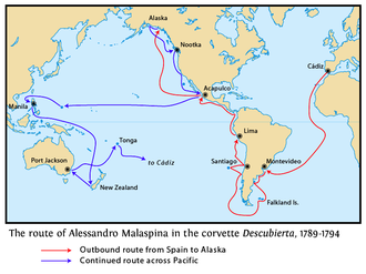 Alessandro Malaspina - This map shows the route of Malaspina's ship Descubierta with the return to Spain from Tonga omitted. The route of Bustamante's Atrevida was mostly the same, but deviated in some places.