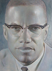 Portrait of Malcolm X by the artist Robert Templeton
