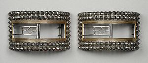 Shoe buckle - Image: Man's shoe buckles c. 1777 1785