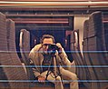Man photographing himself inside the SNCB 08161 train at Antwerp Central Station (DSCF4808).jpg