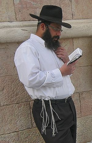 Jewish religious clothing - Haredi Jew wearing tzitzit