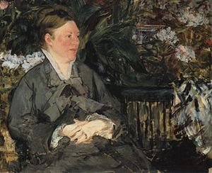 In the Conservatory - Image: Manet Mme Manet im Gewaechshaus