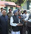 Manmohan Singh addressing the media after meeting the earthquake victims, at Government hospital, in Gangtok, Sikkim. The Governor of Sikkim, Shri B.P. Singh and the Chief Minister of Sikkim.jpg