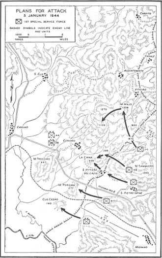 44th Infantry Division (Wehrmacht) - Map of US Plans for Attack, 5 January 1943 on German position in front of the Gustav line
