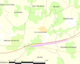 Mapa obce Lucy-le-Bocage