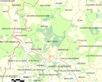 Map of the commune of Montbard