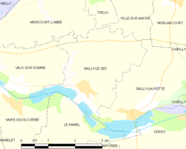 Mapa obce Sailly-le-Sec
