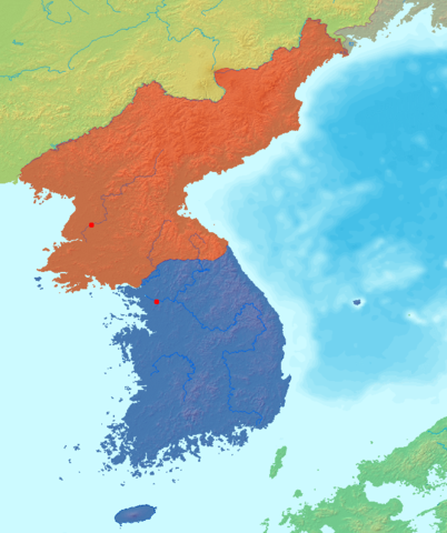 402px Map korea without labels 韓国から北朝鮮へ戻る脱北者が急増中。脱南という新たな現象か。