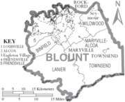 Map of Blount County Tennessee