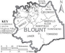 Blount County Tennessee Wikipedia - Map of counties in tennessee