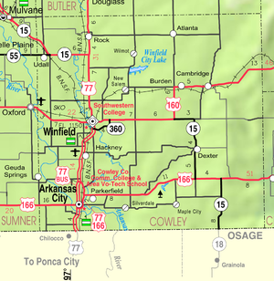 Winfield, Kansas - Image: Map of Cowley Co, Ks, USA