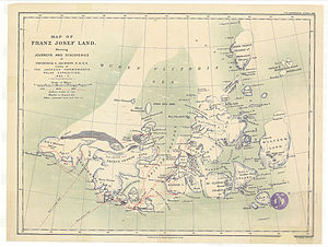 Queen Victoria Sea - The Queen Victoria Sea in an 1898 Franz Josef Land map showing the explorations of Frederick G. Jackson