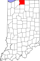 Map of Indiana highlighting Saint Joseph County