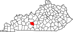 State map highlighting Edmonson County