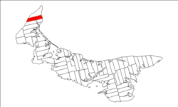 Map of Prince Edward Island highlighting Lot 2