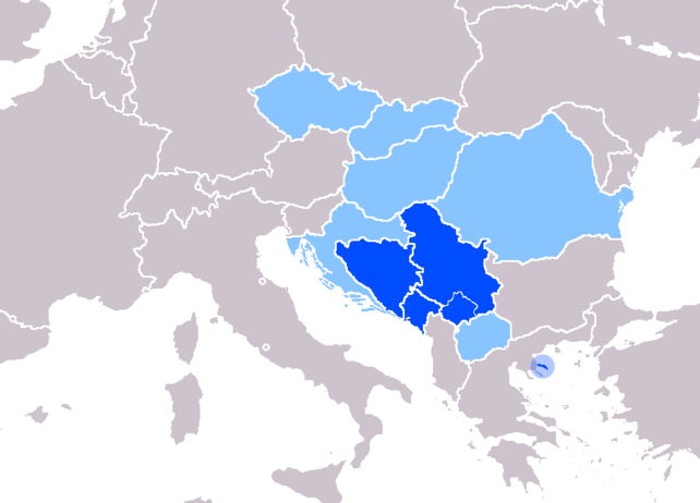 Map of Serbian language - official or recognized
