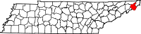 Map of Tennessee highlighting Carter County