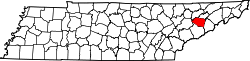 map of Tennessee highlighting Jefferson County