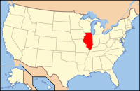 Map of the U.S. highlighting Іллінойс