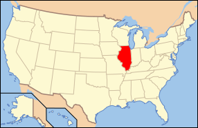 Map of USA with Illinois highlighted