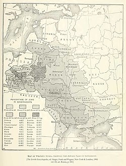 Map showing the percentage of Jews in the Pale of Settlement and Congress Poland, The Jewish Encyclopedia (1905).jpg
