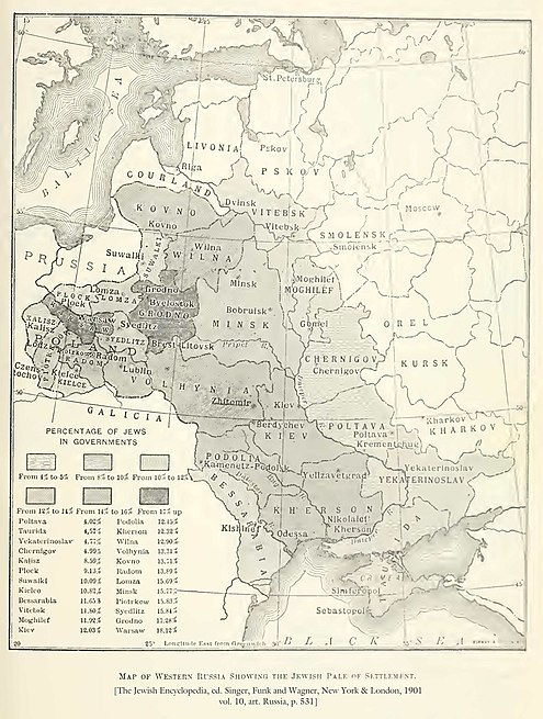 File:Map showing the percentage of Jews in the Pale of Settlement and Congress Poland, The Jewish Encyclopedia (1905).jpg