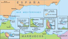 Carte De La Region Mettant En Evidence Les Plazas De Soberania Espagnoles Et Les Trois