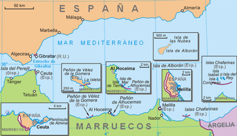 The plazas de soberanía, plus Ceuta (with Perejil Island) and Melilla on the mainland, and Alboran Island 50 km north of the coast