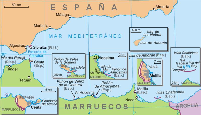 Mapa del sur de España neutral