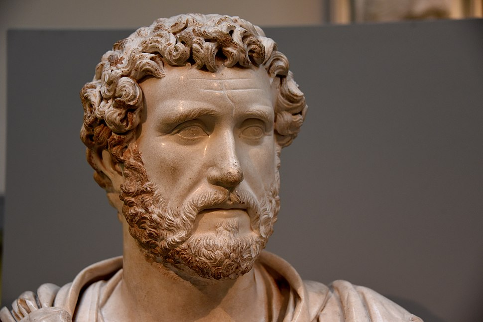 Marble bust of Emperor Antoninus Pius. 138-161 CE. From the house of Jason Magnus at Cyrene, modern-day Libya. The British Museum, London