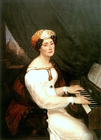 Maria Szymanowska - Szymanowska at the piano; portrait by Aleksander Kokular.