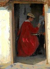 Marie Krøyer malende i Ravello