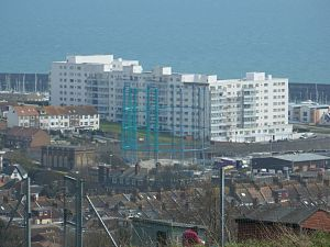 Marine Gate - Marine Gate (seen here from Whitehawk Hill) is close to a large gasworks, which was a target for wartime bombing.