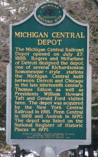 Battle Creek station (Michigan Central Railroad) - Historical marker