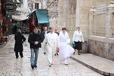 Married couple near Lutheran Church of the Redeemer, Jerusalem.jpg