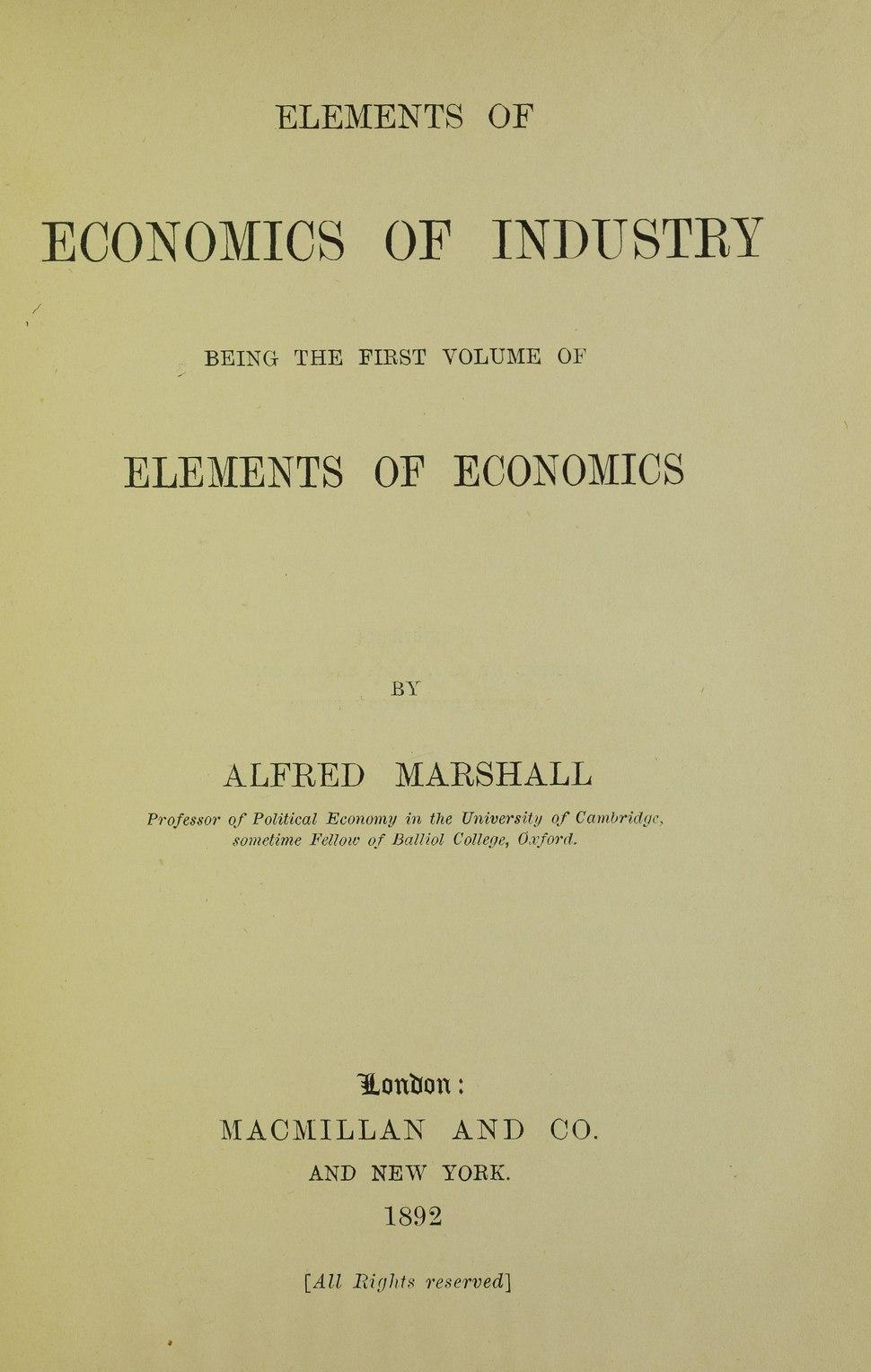 Marshall - Elements of economics of industry, 1892 - 5745225
