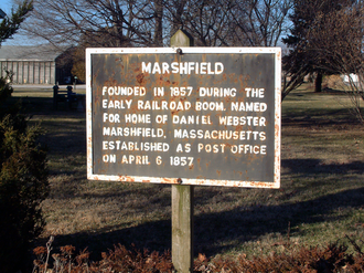 Marshfield, Indiana - Historical marker on State Avenue