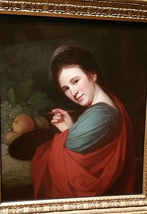 Mary Moser - A portrait of Mary Moser by George Romney