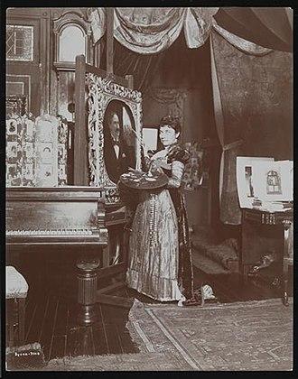 Mary Elizabeth Tillinghast - Tillinghast at her easel, circa 1897