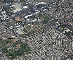 Maryvale Baseball Park and surrounding suburban development.