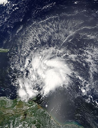 Hurricane Matthew - Tropical Storm Matthew over the Lesser Antilles, shortly after formation on September 28