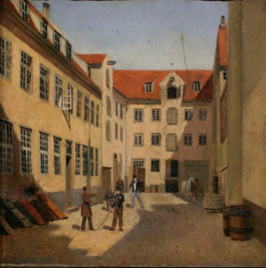 Mathias Hansen House - The courtyard painted by Sally Henriques in 1840
