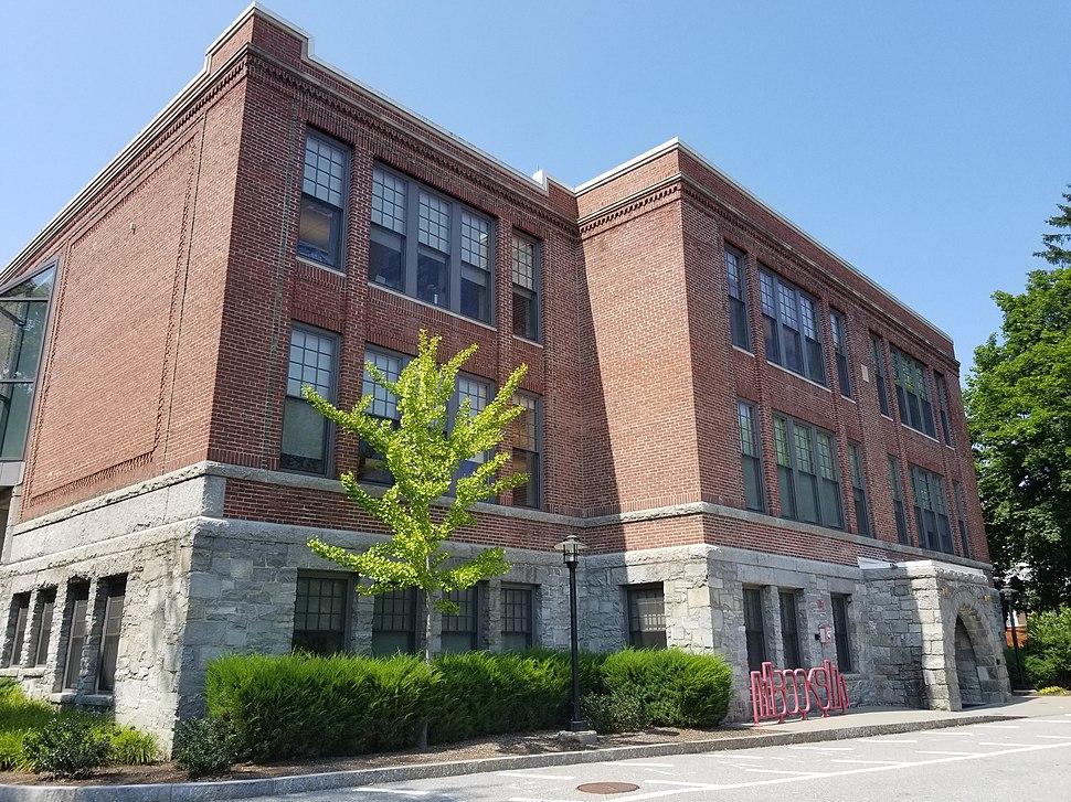 Maynard Public Library rear view in 2018 in Maynard Massachusetts MA