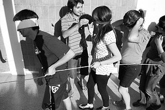 Hazing - Tied and blindfolded first-year students from Universidad de Talca, Chile