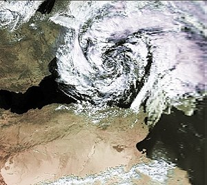 "Mediterranean tropical-like cyclone - Visible satellite imagery of a ""medicane"" above the Balearic Islands on 7 October 1996"