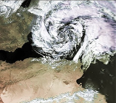 "Visible satellite imagery of a ""medicane"" above the Balearic Islands on 7 October 1996 Mediterranean Cyclone 07 oct 1996 1202Z.jpg"