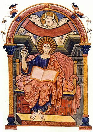 Ada Gospels - Folio 85v of the Ada Gospels contains the evangelist portrait of Luke